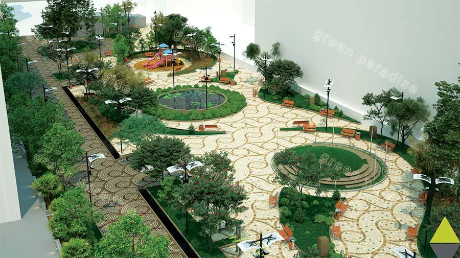 landscape 13 طراحی محوطه مجتمع مسکونی زیتون