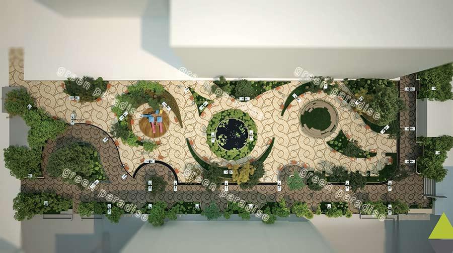 landscape 16 طراحی محوطه مجتمع مسکونی زیتون