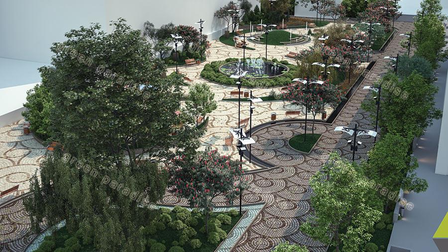 landscape 17 طراحی محوطه مجتمع مسکونی زیتون
