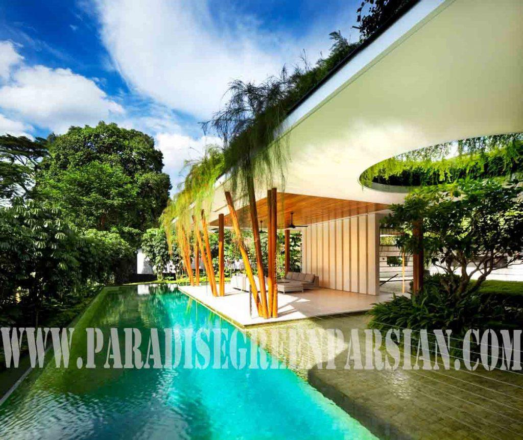 roof garden and landscape 2 1024x862 خانه ای با محوطه سازی پویا و روف گاردن