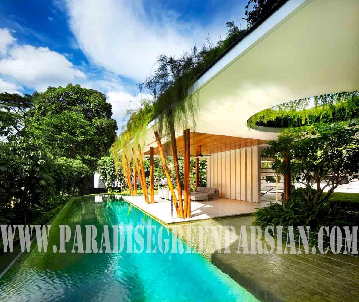 roof garden and landscape 2 خانه ای با محوطه سازی پویا و روف گاردن